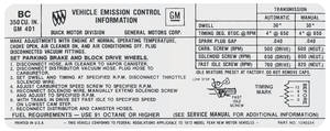 1972 Skylark Emissions Decal 350-4V AT/MT (BC, #1240254)