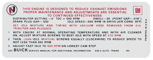 1969 Skylark Emissions Decal 430-4V AT (BH, #1230547)