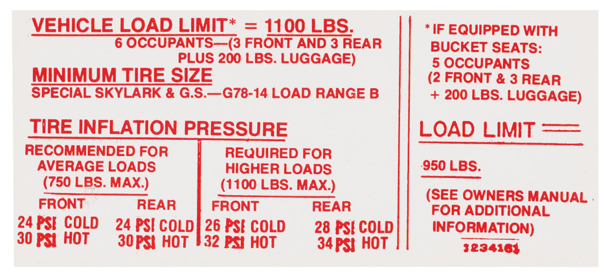 Photo of Tire Pressure Decal (#1234162)