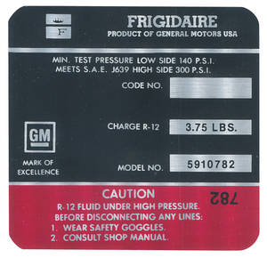 1971-1971 Cadillac Air Conditioning Compressor Decal - Frigidaire (Red, #5910782)