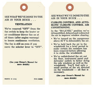 1972-1973 Riviera Interior Decal Ac Instruction Tag (#1240090)