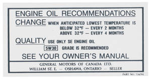 1968-1969 Skylark Engine Compartment Decal Canada - Oil Change (#734791)
