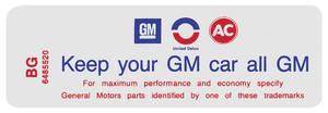 "1970-71 Skylark Air Cleaner Decal, ""Keep Your GM Car All GM"" 350-4V HD (BG, #6485520)"