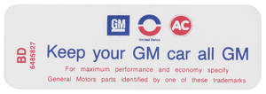 "1970-1971 Skylark Air Cleaner Decal, ""Keep Your GM Car All GM"" 455-4V (BD, #6485827)"