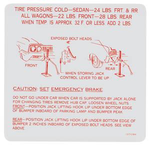 1965 Skylark Jacking Instruction Decal (#1371094)