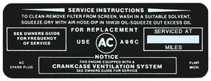 "1964 Skylark Air Cleaner Decal, ""Keep Your GM Car All GM"" Wildcat 445, w/A96C"