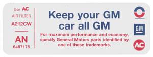"1972 Skylark Air Cleaner Decal, ""Keep Your GM Car All GM"" GS 350 (Early) (AN, #6487175)"