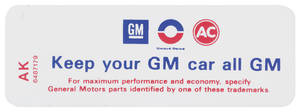 """1972-73 Riviera Air Cleaner Decal, """"Keep Your GM Car All GM"""" 455-4V (AK, #6487179)"""