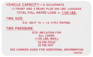 1968-1968 Skylark Tire Pressure Decal GS400 (#1385550)