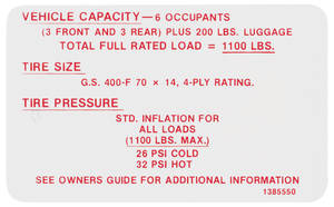 1968 Skylark Tire Pressure Decal GS400 (#1385550)