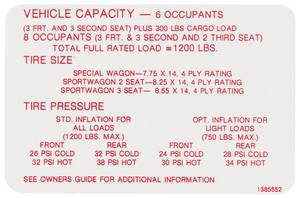 1968-1968 Skylark Tire Pressure Decal Wagon/Sport Wagon (#1385552)