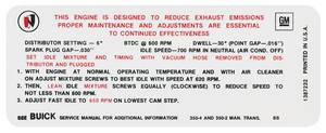 1968-1968 Skylark Emissions Decal 350-2V/350-4V MT (BB, #1387232)