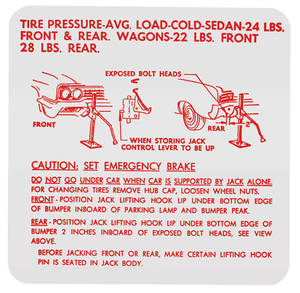 1963-64 Skylark Jacking Instruction Decal (#1359388)