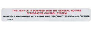 1970-1970 Skylark Emissions Decal V8 Evap Control (Early) (#1233613)