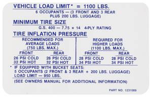 1969 Skylark Tire Pressure Decal GS400 (#1231069)
