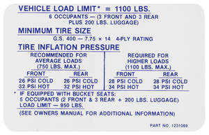 1969 Skylark Tire Pressure Decal GS400 (#1231069)