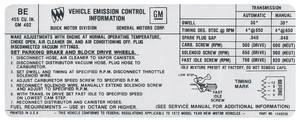1972 Skylark Emissions Decal 455-4V AT/MT (BE, #1240256)