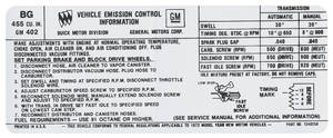 1972 Riviera Emissions Decal 455-4V Stage 1 AT/MT (BG, #1240258)
