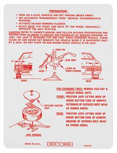 1972 Skylark Jacking Instruction Decal (#1241778)