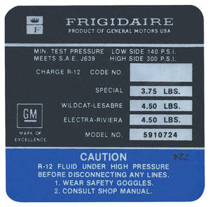1971 Skylark Air Conditioning Compressor Decal Frigidaire (#5910724)