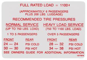 1968-1968 Skylark Tire Pressure Decal Special (#1385549)