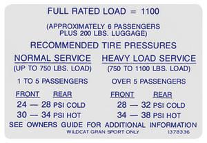 1966 Skylark Tire Pressure Decal Wildcat/GS (#1378336)