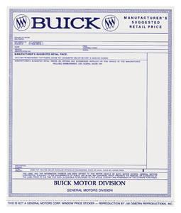 1965-66 Skylark New Car Window Sticker