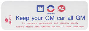 "1970-1971 Skylark Air Cleaner Decal, ""Keep Your GM Car All GM"" 350-2V HD (BF, #6485519)"