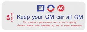 """1970-71 Skylark Air Cleaner Decal, """"Keep Your GM Car All GM"""" 350-2V (BA, #6485408)"""