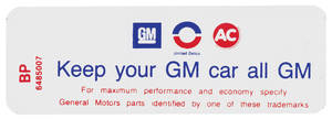 "1970-1971 Skylark Air Cleaner Decal, ""Keep Your GM Car All GM"" 6-Cyl. HD (BP, #6485007)"