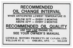 1969 Skylark Engine Compartment Decal 6-Cyl. HD; Oil Change