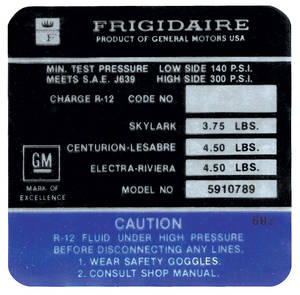1972 Skylark Air Conditioning Compressor Decal Frigidaire (#5910789)