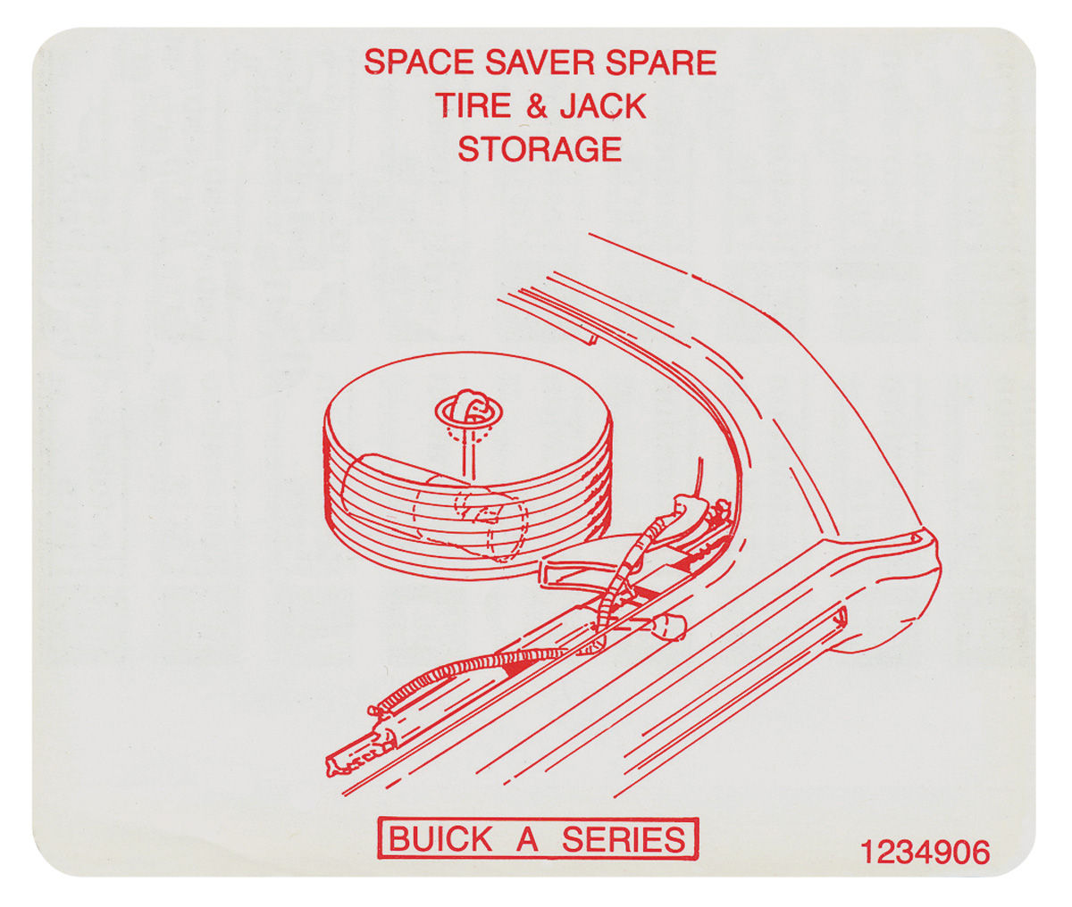 Photo of Jacking Instruction Decal space saver spare tire stowage (#1234906)