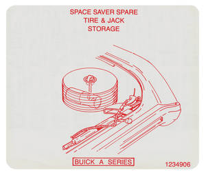 1970 Skylark Jacking Instruction Decal Space Saver Spare Tire Stowage (#1234906)