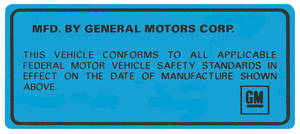 1969-1974 Catalina Motor Vehicle Safety Standards Decal