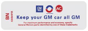 "1969 Skylark Air Cleaner Decal, ""Keep Your GM Car All GM"" 350-2V HD (BN, #6484918)"