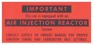 1966-1967 Bonneville Air Injection Reactor Decal