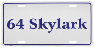 """1964 License Plate, """"Skylark"""" Embossed"""