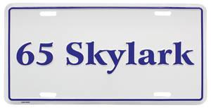 """1965-1965 Skylark License Plate, """"Skylark"""" Embossed, by RESTOPARTS"""