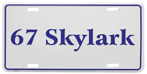 "1967 License Plate, ""Skylark"" Embossed"