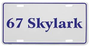 """1967 License Plate, """"Skylark"""" Embossed"""