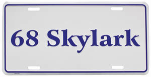 "1968-1968 Skylark License Plate, ""Skylark"" Embossed, by RESTOPARTS"