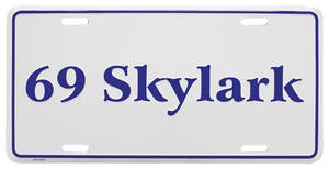 "1969 License Plate, ""Skylark"" Embossed, by RESTOPARTS"