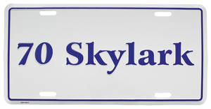 "1970 License Plate, ""Skylark"" Embossed"