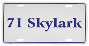 """1971-1971 Skylark License Plate, """"Skylark"""" Embossed, by RESTOPARTS"""