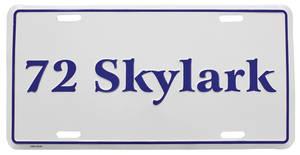 """1972-1972 Skylark License Plate, """"Skylark"""" Embossed, by RESTOPARTS"""