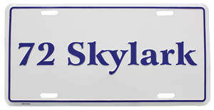 "1972 License Plate, ""Skylark"" Embossed"