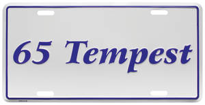 "1965 License Plate, ""Tempest"" Embossed"