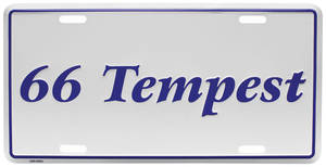 "1966-1966 Tempest License Plate, ""Tempest"" Embossed, by RESTOPARTS"