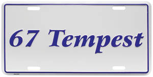 """License Plate, """"Tempest"""" Embossed"""